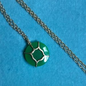 Jewelry - Gold Chain Necklace with Green Pendant